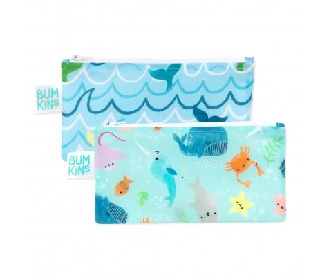 Set 2 bolsas mini snack Bumkins Ocean 18*9 cm