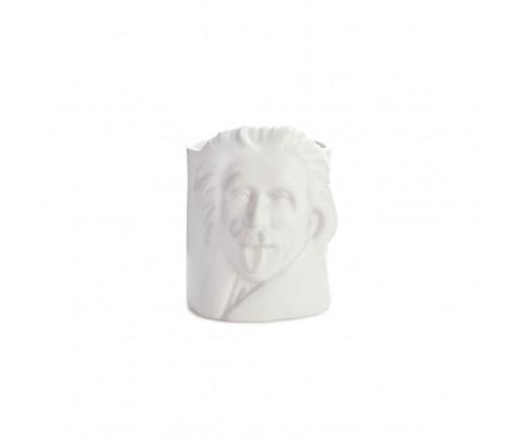 Portalápices Albert Einstein blanco cerámica