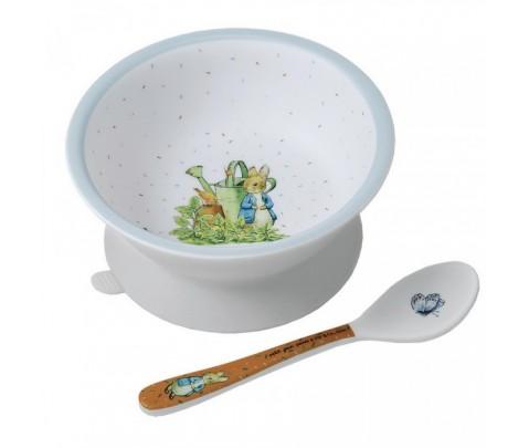 Set bowl ventosa y cuchara melamina Peter Rabbit