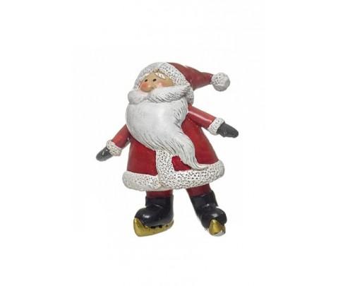 Figura Papa Noel patinando brazos abiertos 9 cm