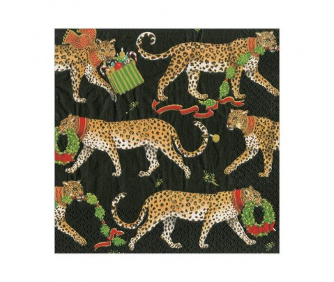 20 servilletas de papel lunch Black Christmas Leopards