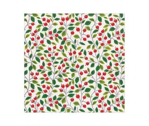 20 servilletas de papel lunch White Berries Leaves