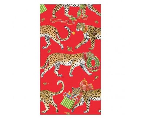 15 servilletas de papel buffet Red Christmas Leopards