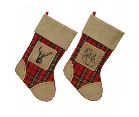 Set 2 calcetines tela saco tartán