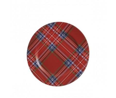 Bajoplato tartán rojo cuero sintético 33 cm