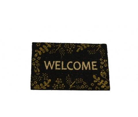 Felpudo Welcome dorado fondo negro 40x60 cm
