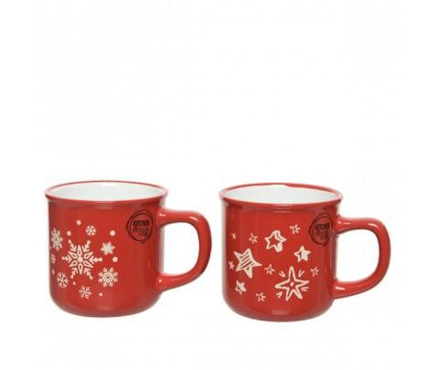 Set 2 mug gres rojos estrella y copos 8 cm