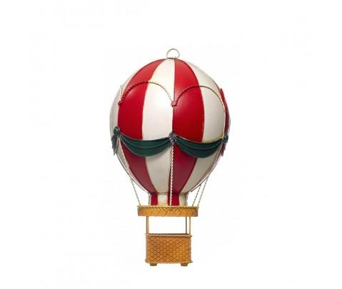 Globo aerostático metal rojo y blanco 42 cm