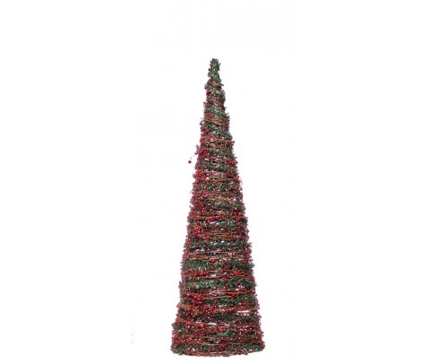 Cono de Navidad con frutos rojos 50 cm