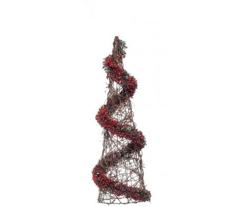 Cono de Navidad con guirnalda de frutos rojos 50 cm