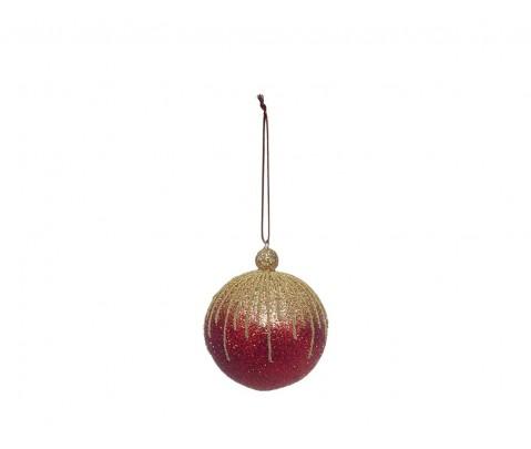 Colgante bola purpurina roja con rayas doradas 8 cm