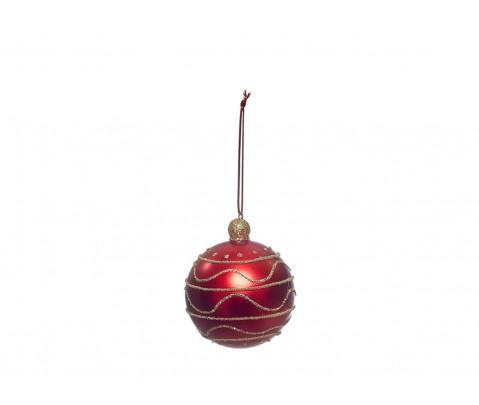 Colgante bola roja ondas y rayas purpurina dorada 8 cm