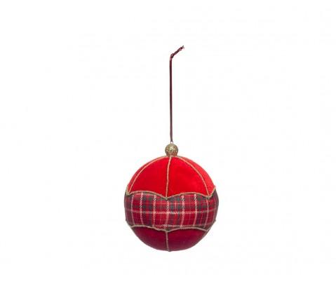 Colgante bola roja centro tartán 11 cm