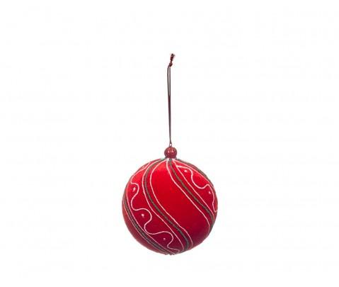 Colgante bola roja vivo verde onda blanca 11 cm