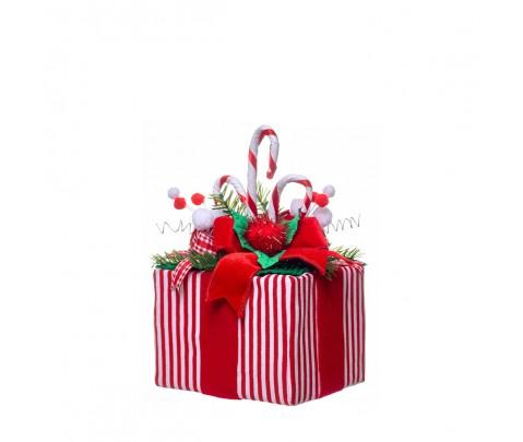 Paquete de regalo rayas rojas bastones