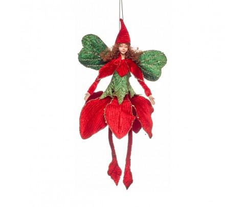 Hada hojas rojas y verdes alas verdes