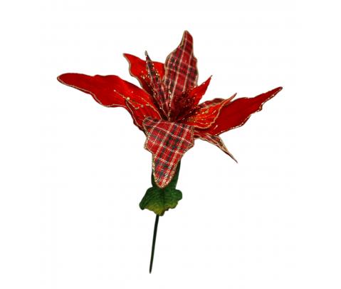 Flor ponsetia roja y tartán 70 cm