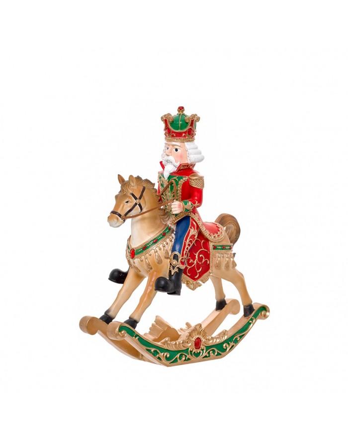 Soldado cascanueces en caballo balancín 39 cm