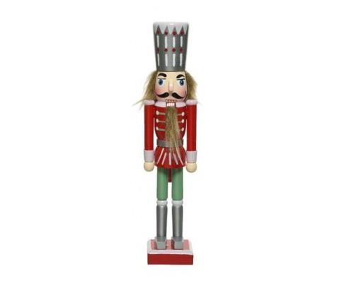 Soldado cascanueces tonos pastel chaqueta roja 25 cm