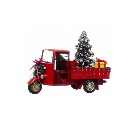 Motocarro rojo de metal con árbol de Navidad y regalos 18 cm