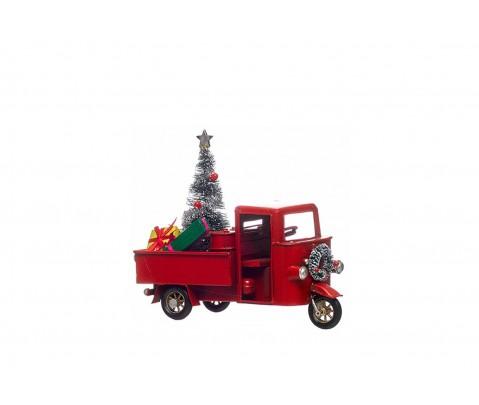 Motocarro rojo de metal con árbol de Navidad y regalos 14cm