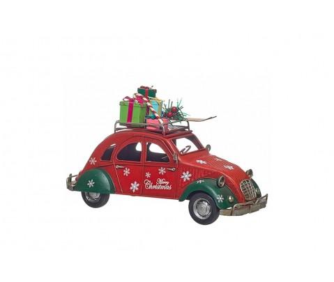 Coche metal 2cv rojo Merry Christmas con regalos 15 cm