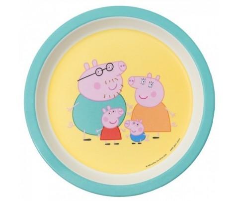Plato llano de melamina con la familia de Peppa Pig