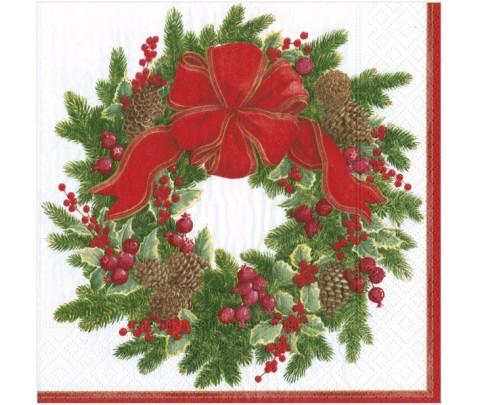 20 servilletas de papel cocktail Evergreen Wreath