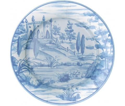 8 platos grandes de papel Tuscan Toile Blue