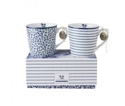 Set 2 mini mugs cerámica azul en caja