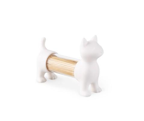 Palillero, salero y pimentero Cat blanco