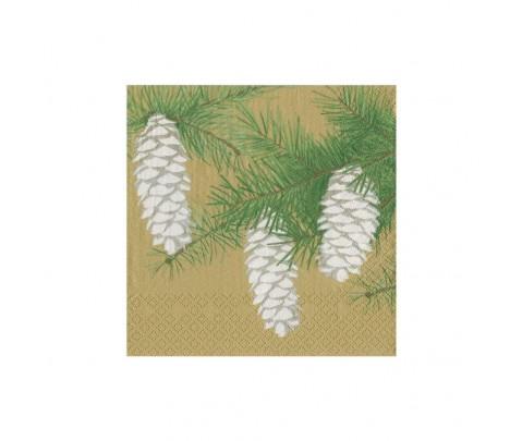 20 servilletas de papel cocktail Pinecones Gold