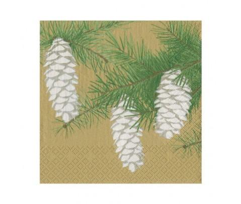 20 servilletas de papel lunch Pinecones Gold
