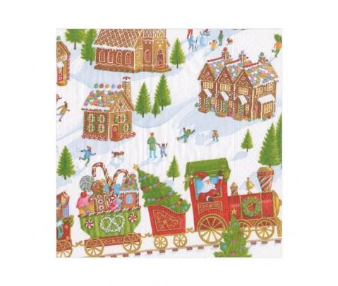 20 servilletas de papel lunch Gingerbread Village