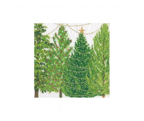 20 servilletas de papel cocktail Christmas tree whit lights