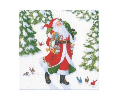 20 servilletas de papel lunch Woodland Santa
