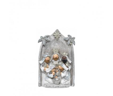 Nacimiento gris con Reyes Magos 10cm