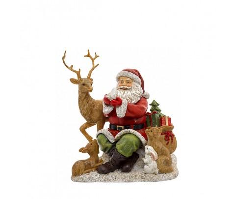 Papa Noel con animales del bosque