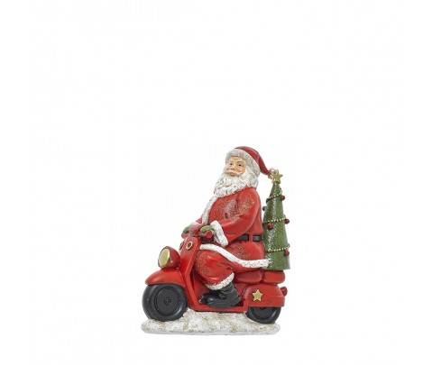 Papa Noel en moto con árbol de Navidad