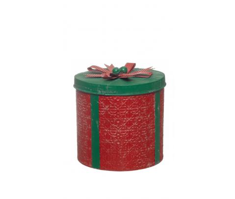 Caja metal circular roja tapa verde 26 cm