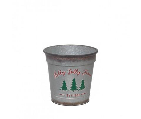 Cubo metal vintage Holly Jolly Farm