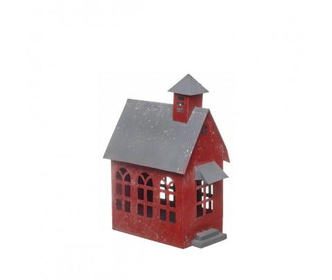 Iglesia metal vintage roja 24 cm