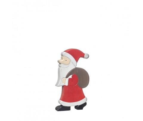 Papa Noel de madera con saco 18 cm