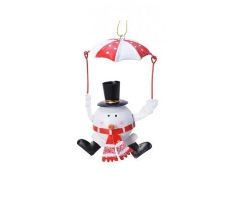 Colgante paracaídas muñeco de nieve 12 cm