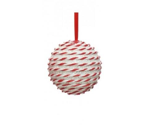 Colgante bola blanca brillante cinta bicolor 10 cm