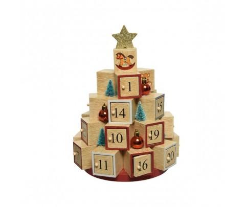 Calendario de Adviento cajones árbol 28 cm