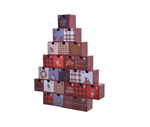 Calendario de Adviento cajones multicolor fondo granate