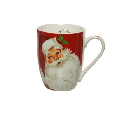 Mug Papa Noel clásico fondo rojo 10 cm