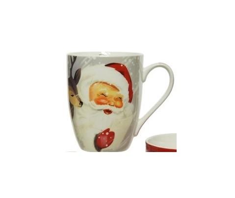 Mug Papa Noel clásico en la nieve 10 cm