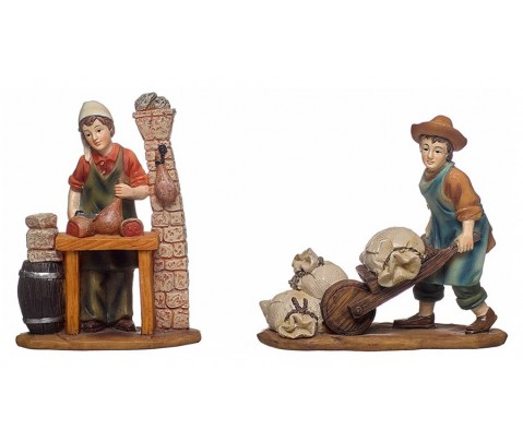 Set 2 figuras belén jamonero y carretillero